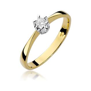 Pierścionek złoty SOLITER z diamentem BE W-111T próba 585