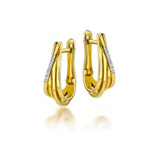 Kolczyki złote VENEZIA z diamentami/ang,zap. BE KO-5 próba 585