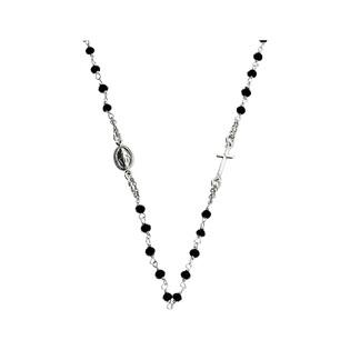Naszyjnik srebrny D&G różaniec paciorki onyksowe NI 013 BL próba 925