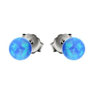 Kolczyki srebrne kulka opal niebieski 4 mm/sztyft AT-234 próba 925