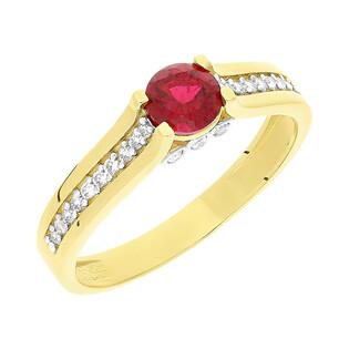 Pierścionek złoty z czerwonym kamieniem i cyrkoniami NB 501497 RUB próba 585