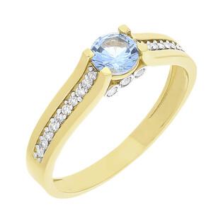 Pierścionek złoty niebieskim kamieniem i cyrkoniami NB 501497 TOP próba 585