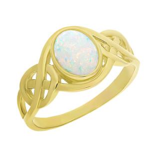 Pierścionek złoty opal w ażurowej szynie NB 501539 opal próba 375