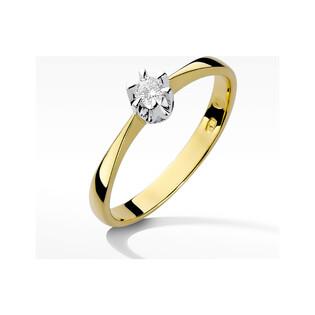 Pierścionek złoty SOLITER z diamentem BE W-111 Magic próba 375