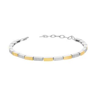 Bransoleta srebrna Line prostokąty z cyrkoniami i złotymi blaszkami PX 874_AU375 blaszka gold