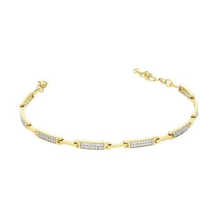 Bransoleta złota LINE prostokąty z cyrkoniami PX 1004 próba 585