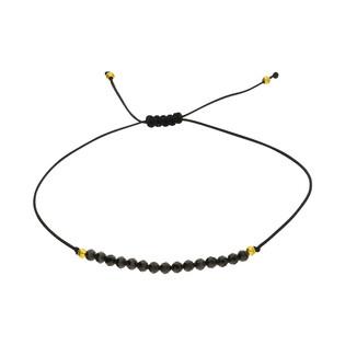 Bransoleta sznurkowa z czarnymi fasetowanymi agatami SR 335 czarny próba 925
