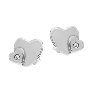 Kolczyki srebne serce blask z sercem z cyrkonią/sztyft SZ SG-022-KS-S próba 925