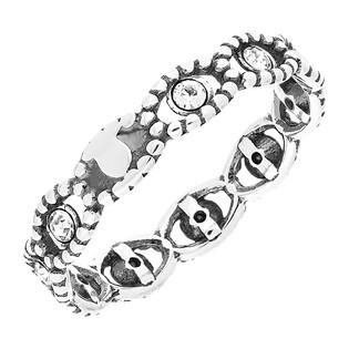 Pierścionek srebrny cyrkonie w oku z kulek beads SZ069 próba 925