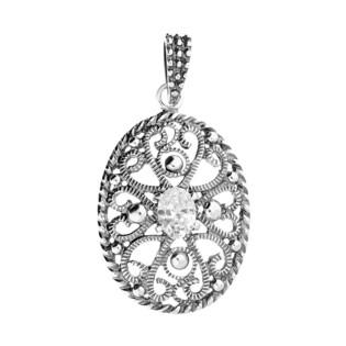 Zawieszka srebrna owal ornament z cyrkonią SZ172 próba 925