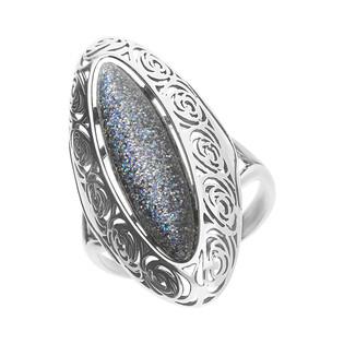 Pierścionek srebrny łezka ażur z multikolorowym kamieniem SZ233-1 multikolor szary próba 925