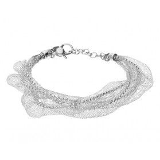 Bransoleta srebrna kulki bead w stalowej siatce AF 047 bead-KAR próba 925