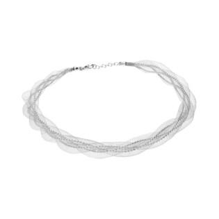 Naszyjnik srebrny kulki bead w stalowej siatce AF 047 bead-KAR próba 925