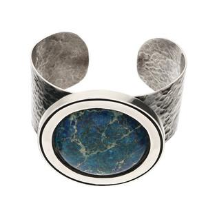 Bransoleta srebrna koło z lapis lazuli/bangla młotkowana M2 ARTIS D.Grzenkowski lapis laz próba 925