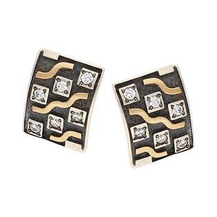 Kolczyki srebrne szachownica z cyrkoniami/sztyft M2 GOLD SETING próba 925