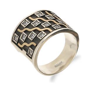 Pierścionek srebrny obrączkowy szachownica z cyrkoniami M2 GOLD SETING próba 925