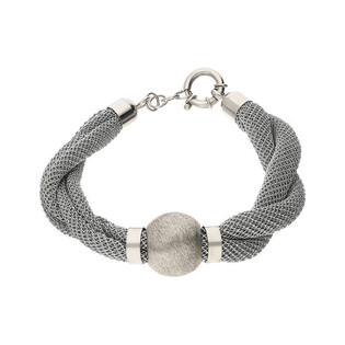 Bransoleta siatka crochet ze srebrną kulką JV ME57S