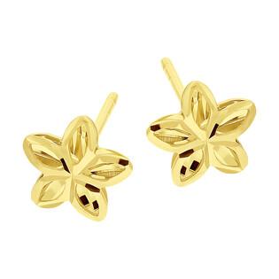 Kolczyki złote kwiatek grawerowany/sztyft AR VX3DCLKE2207 próba 585