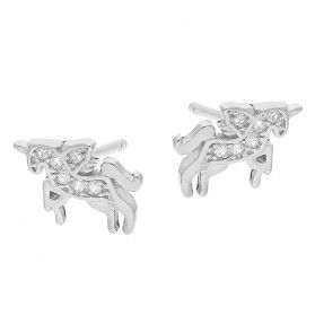 Kolczyki srebrne dla dziewczynki jednorożec z cyrkoniami/sztyft DA504 próba 925