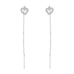 Kolczyki srebrne serce z cyrkoniami/przeciągane DA596 próba 925