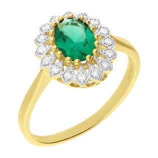 Pierścionek złoty z jubilerskim szmaragdem i cyrkoniami E DJ12 szmaragd KATE próba 585