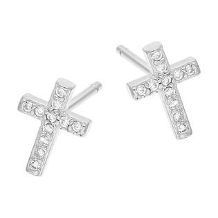 Kolczyki srebrne krzyżyk z cyrkoniami/sztyft HS250-1 próba 925