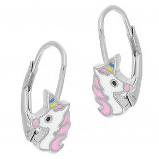 Kolczyki srebrne dla dziewczynki jednorożec z kolorową emalią HS702-1 próba 925