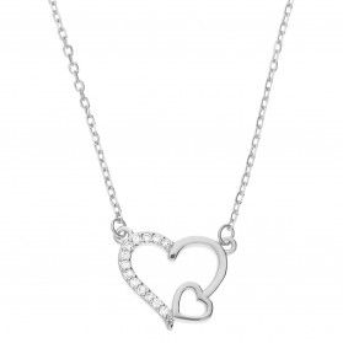 Naszyjnik srebrny serce z cyrkoniami/anker HS1246 próba 925