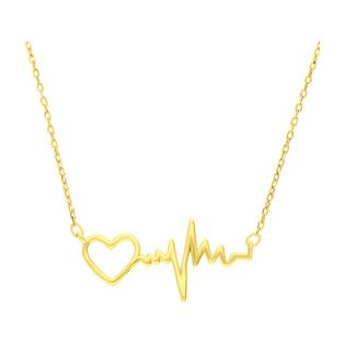Naszyjnik pozłacany puls z sercem/anker HS1247-1 GOLD próba 925