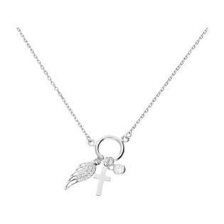 Naszyjnik srebrny z krzyżykiem,skrzydłem i cyrkonią/anker HS1259 próba 925