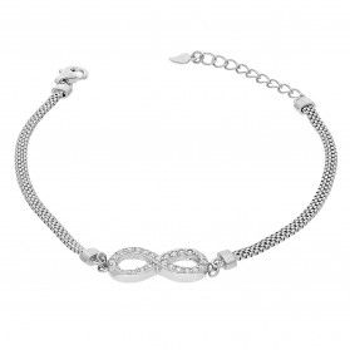 Bransoleta srebrna infinity z cyrkoniami/wąż płaski HS1274 próba 925