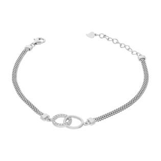 Bransoleta srebrna klanówka z cyrkoniami/wąż płaski HS1277 próba 925