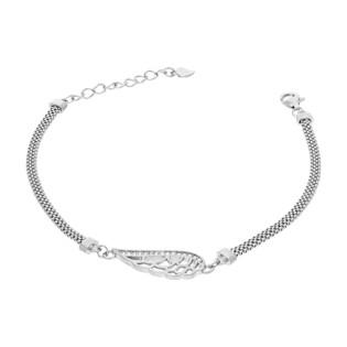 Bransoleta srebrna skrzydło z cyrkoniami/wąż płaski HS1278 próba 925