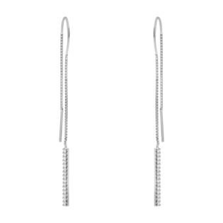 Kolczyki srebrne pałka z cyrkoniami /przeciągane HS1281 próba 925