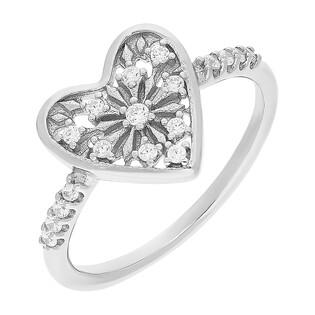 Pierścionek srebrny ażurowe serce z cyrkoniami JA927 próba 925