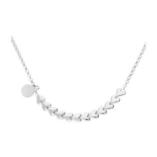 Naszyjnik srebrny z sercami w rzędzie i kółkiem/rolo NI GIA11891 próba 925