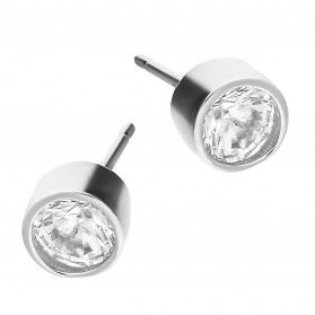 Kolczyki srebrne pojedyncza cyrkonia 5 mm/sztyft PW339 próba 925