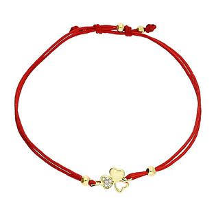 Bransoleta złota sznurkowa z koniczynką i cyrkoniami LP 34U25-B0018-Y-R-IP próba 333