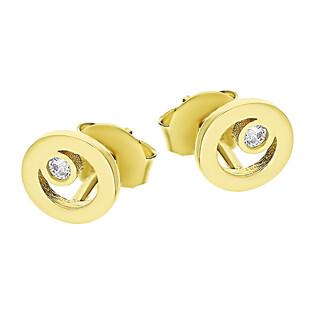 Kolczyki złote kółko ramka z cyrkonią/sztyft LP JTDK130153-Y próba 585