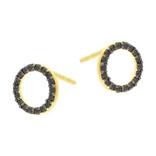 Kolczyki złote koło z czarnymi cyrkoniami/sztyft MZ T23-E-COL-281-BCZ-8mm próba 585