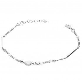 Bransoleta srebrna z sercem i prostokątnymi pałkami NI BRN29706A próba 925