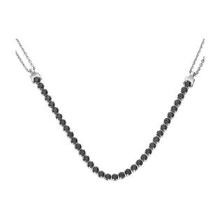 Naszyjnik srebrny z czarnymi cyrkoniami w rzędzie/rolo NI GIA11566-BRN23054 próba 925