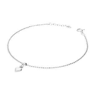 Bransoleta srebrna na nogę kulki bead i serce NI CA1097 bead+serce wiszące próba 925