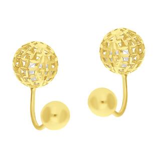 Kolczyki złote diorki ażurowe kulki z cyrkonią JA-KUL-3 próba 585