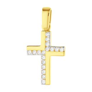 Krzyżyk złoty z cyrkoniami OS 96-H030 ZIR próba 585