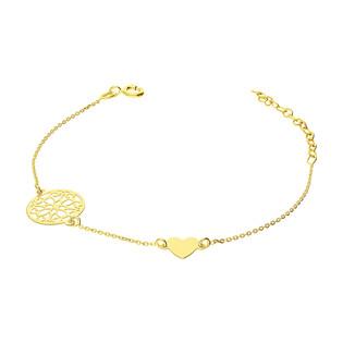 Bransoleta pozłacana ażurowe kółko i serce PW 015 kółko ażur orn+serce GOLD próba 925