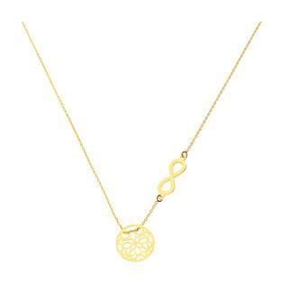 Naszyjnik pozłacany ażurowe kółko i infinity/anker PW 015 kółko+infinity GOLD próba 925