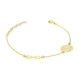 Bransoleta pozłacana ażurowe kółko i infinity/anker PW 015 kółko+infinity GOLD próba 925