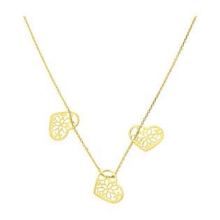 Naszyjnik pozłacany z ażurowymi sercami PW 017 serce ornament x3 GOLD próba 925