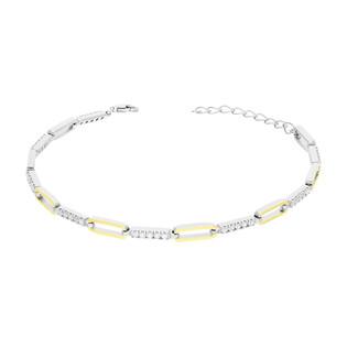 Bransoleta srebrna owale z cyrkoniami PX 1009_AU375 blaszka gold